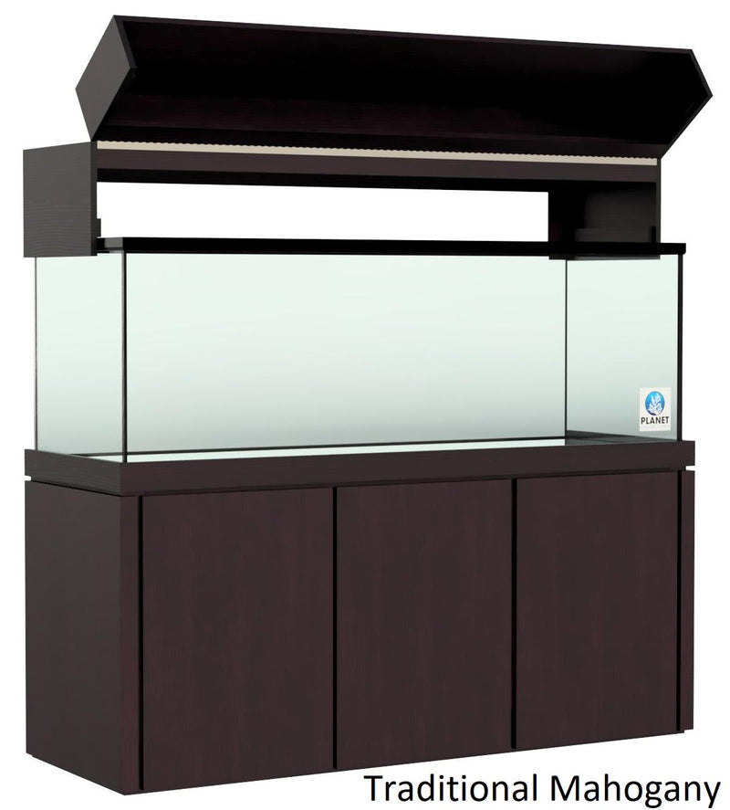 "Elegance Aquarium Canopy with 12"" with a Front Lift fits 180 gallon and 215 gallon tanks Stained Traditional Mahogany"