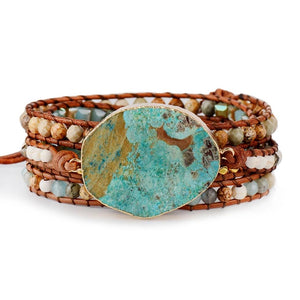 Handmade Jasper Leather Bracelet [Natural Stones]