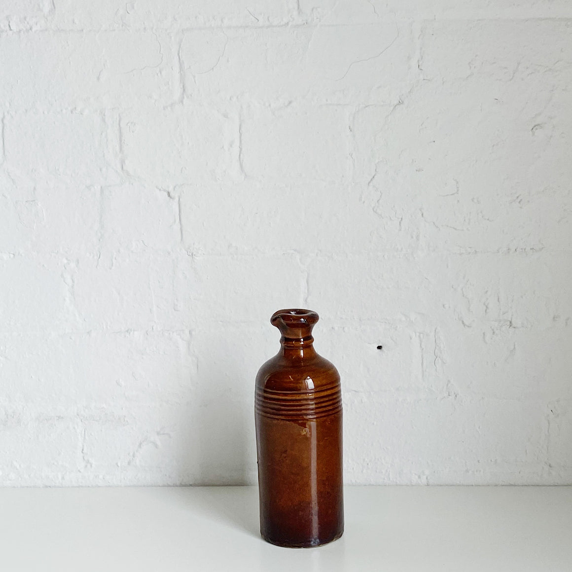Brown Stripped Ceramic Jug - Vintage - Small