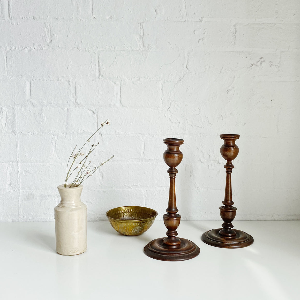 Wood Candle Sticks (pair) - Vintage - Medium