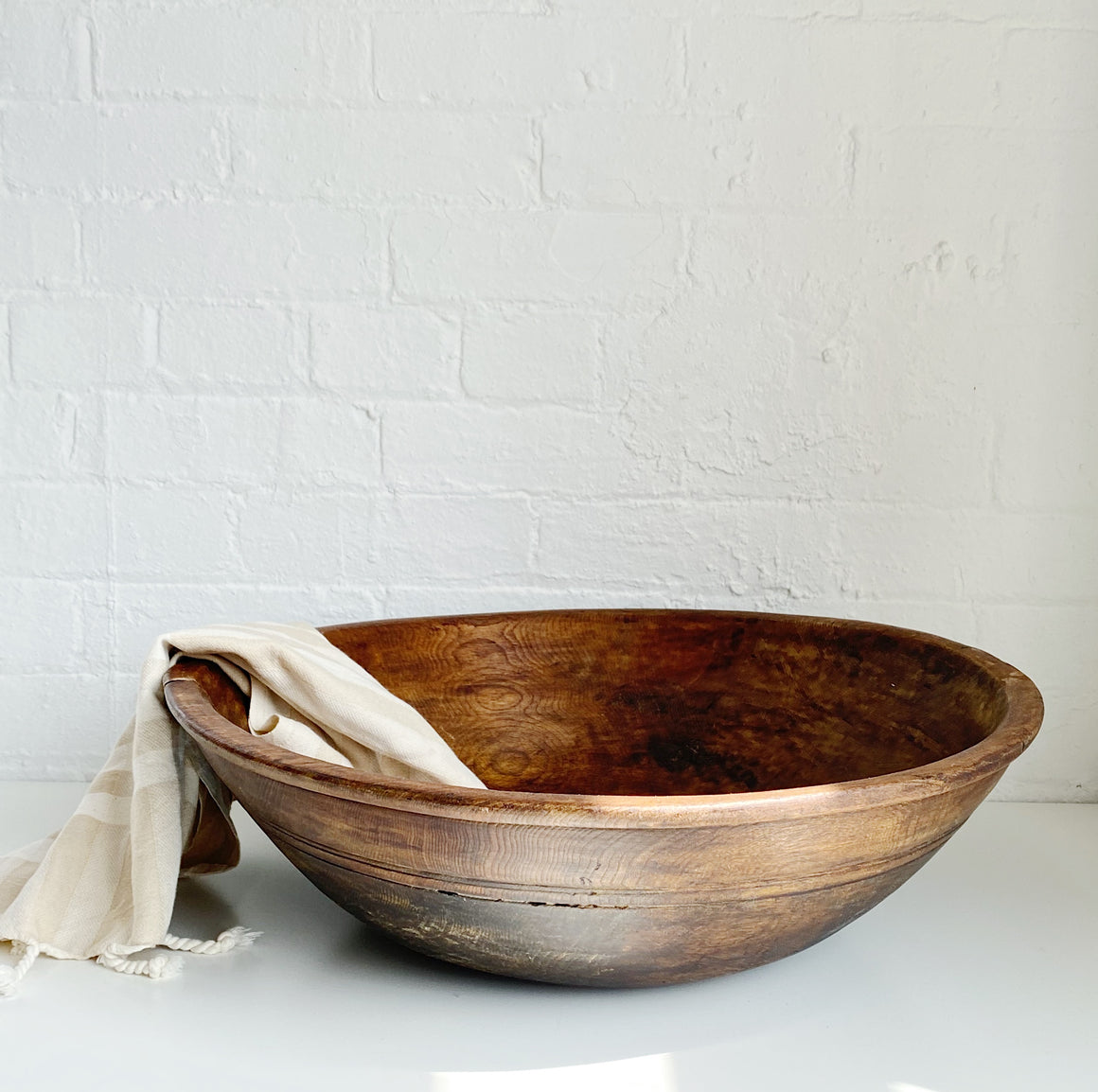 Dark Brown Wood Bowl - Vintage - X Large