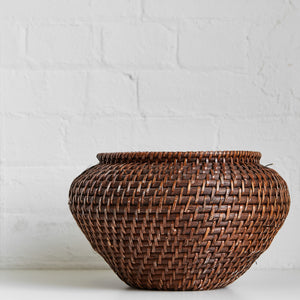 Dark Brown Woven Basket - Vintage - Medium