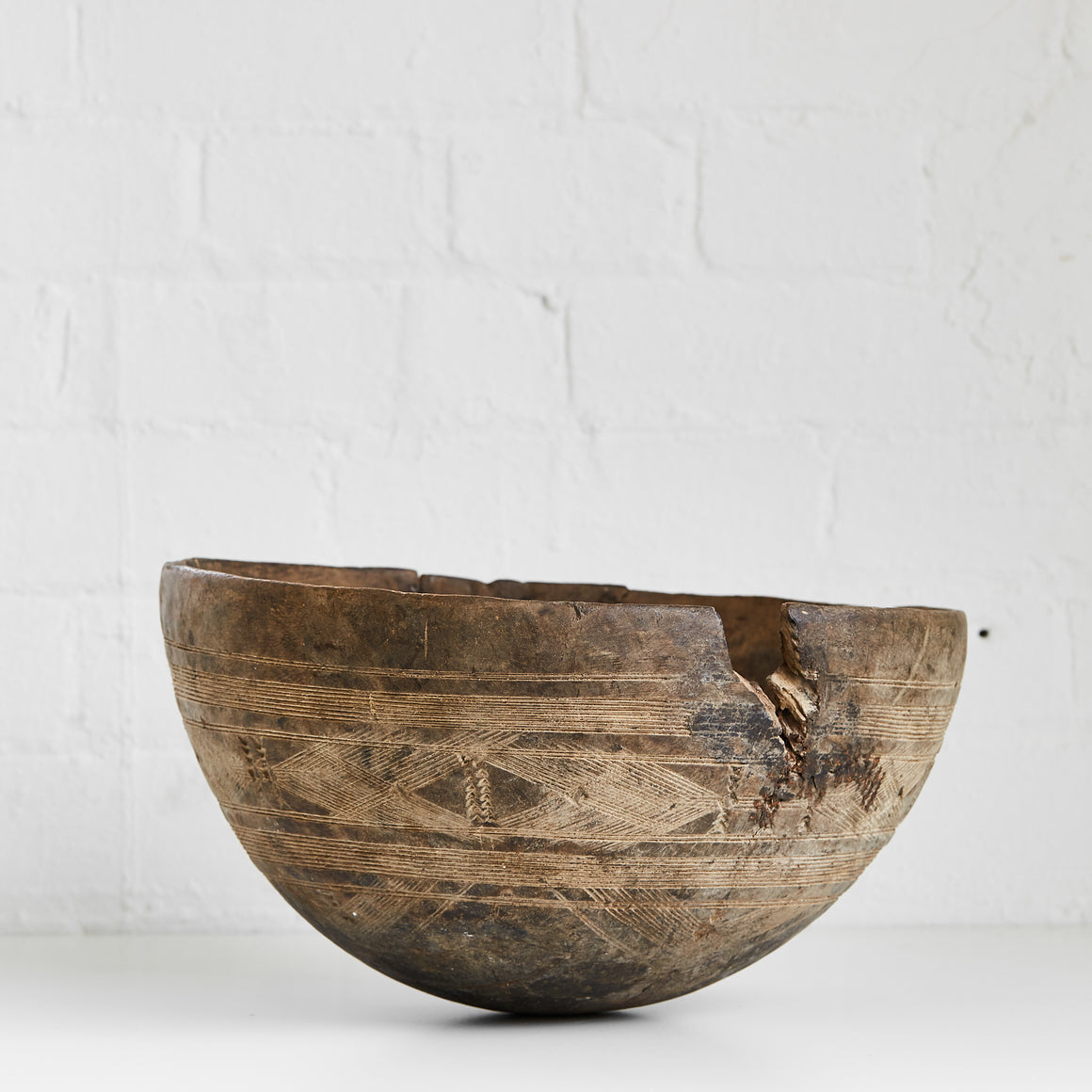 Craved Wooden Bowl - Vintage - Medium
