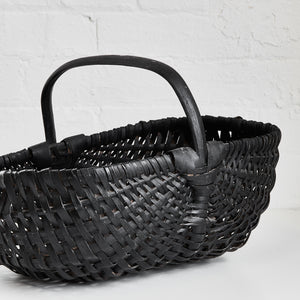 Black Woven Basket w Handle - Vintage - Medium