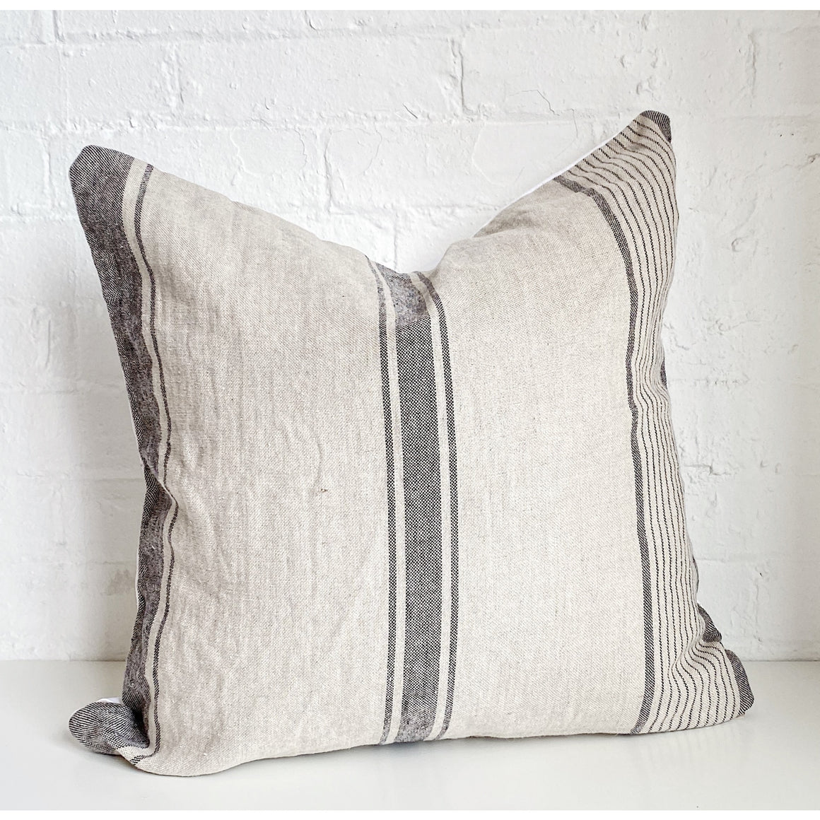 Grey on Beige Stripped Throw Pillow Case - Exclusive by AMD