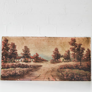 Oil Painting (dirt road and houses) - Vintage - 22x11