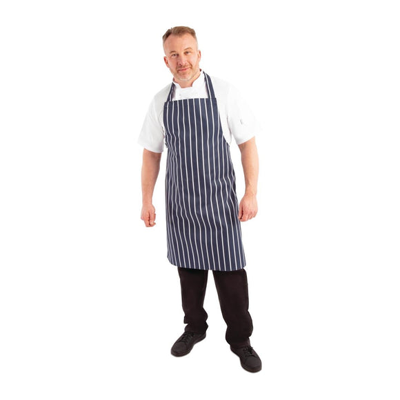 Click N Order photo of a Whites Butchers Apron   Navy Stripe Extra Large