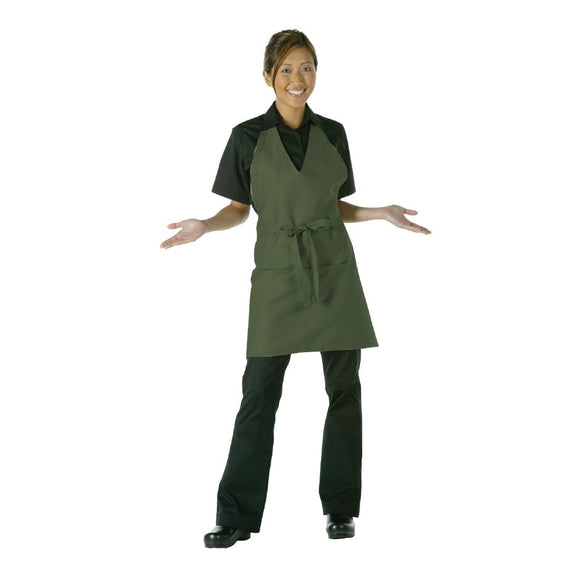 Click N Order photo of a Chef Works Tuxedo Bib Apron Olive