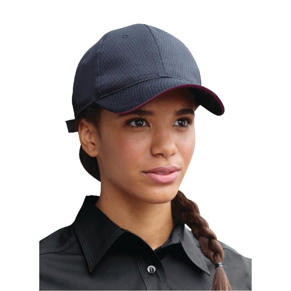Click N Order photo of a Chef Works Cool Vent Baseball Cap Black with Merlot