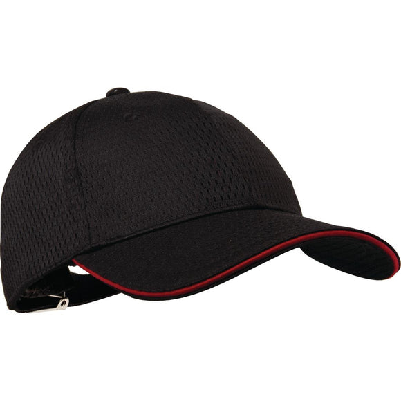 Click N Order photo of a Chef Works Cool Vent Baseball Cap Black with Red