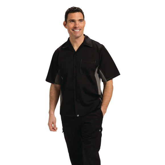 Click N Order photo of a Chef Works Unisex Contrast Shirt Black and Grey XS