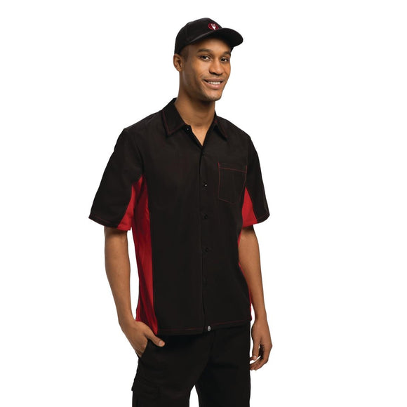 Click N Order photo of a Chef Works Unisex Contrast Shirt Black and Red 2XL