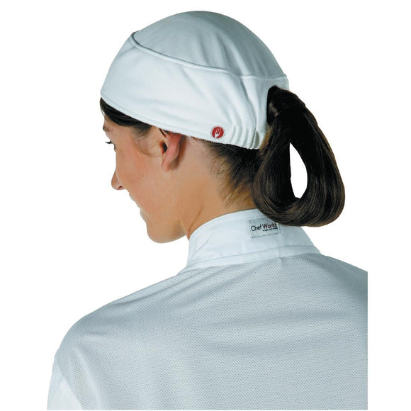 Click N Order photo of a Chef Works Womens Total Vent Beanie White