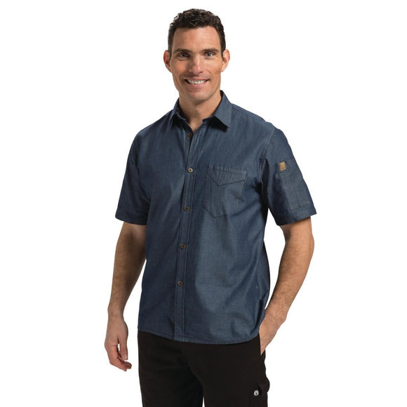 Click N Order photo of a Chef Works Unisex Detroit Denim Short Sleeve Shirt Blue XL
