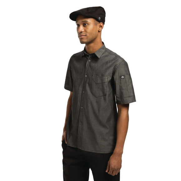 Click N Order photo of a Chef Works Unisex Detroit Denim Short Sleeve Shirt Black M