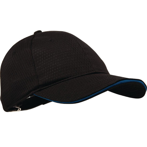 Click N Order photo of a Chef Works Cool Vent Baseball Cap Black with Blue