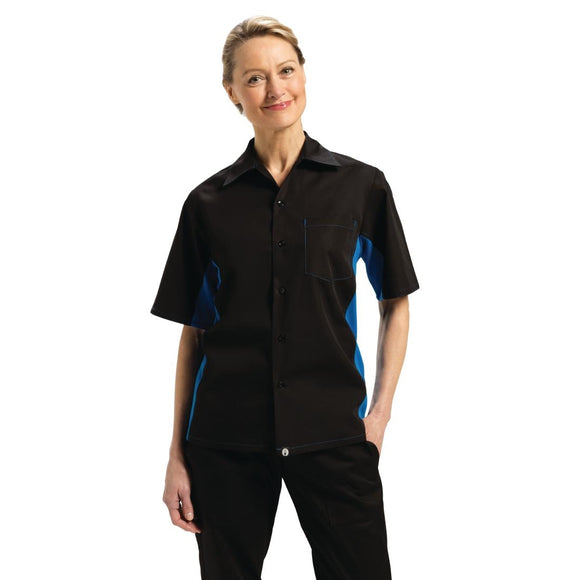 Click N Order photo of a Chef Works Unisex Contrast Black and Blue Shirt XL
