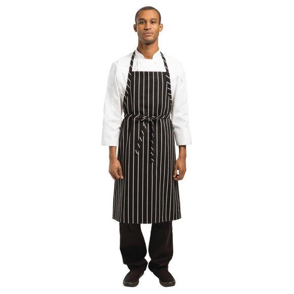 Click N Order photo of a Chef Works Premium Woven Bib Apron Black and White Stripe