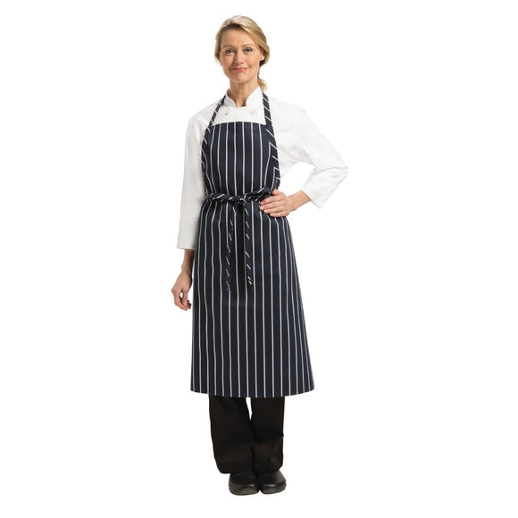 Click N Order photo of a Chef Works Premium Woven Bib Apron Navy and White Stripe