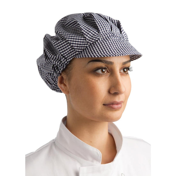 Click N Order photo of a Whites Peaked Unisex Hat Blue and White Check