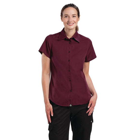 Click N Order photo of a Chef Works Womens Cool Vent Chefs Shirt Merlot XL