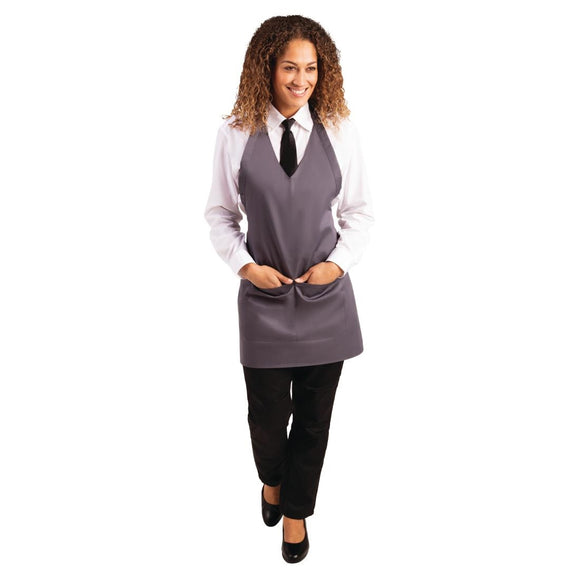 Click N Order photo of a Whites V Neck Service Apron Charcoal