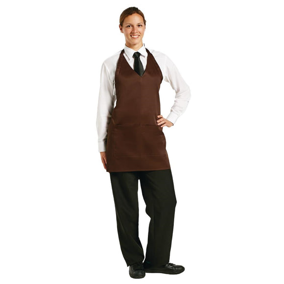 Click N Order photo of a Whites V Neck Service Apron Chocolate