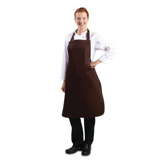 Click N Order photo of a Whites Polycotton Bib Apron Chocolate