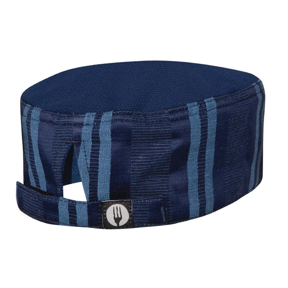 Click N Order photo of a Chef Works Presidio Navy Satin Stripe Cool Vent Beanie