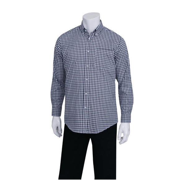 Click N Order photo of a Chef Works Mens Dress Shirt Dark Navy Gingham M