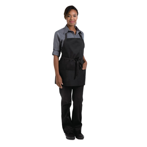 Click N Order photo of a Chef Works Three Pocket Bib Apron Black