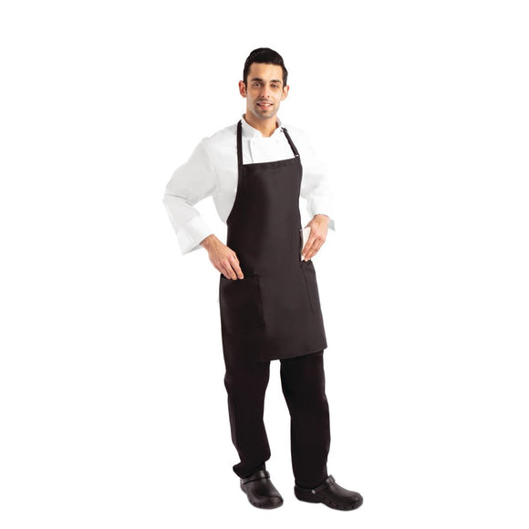 Click N Order photo of a Chef Works Two Patch Pocket Bib Apron Black