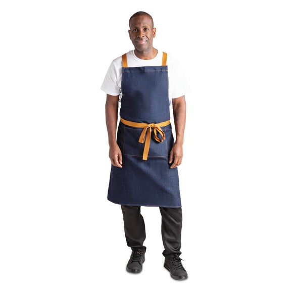 Click N Order photo of a Southside X-Cross Back Apron Denim Blue Tan Ties