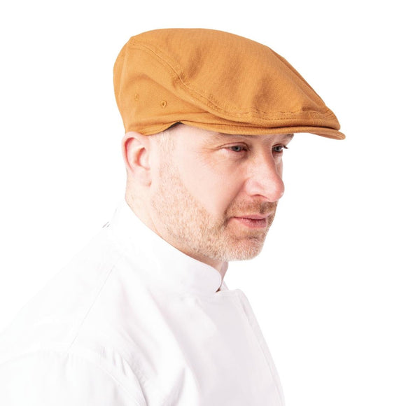 Click N Order photo of a Chef Works Urban Rockford Pigment Dye Canvas Flat Cap Nutmeg S-M