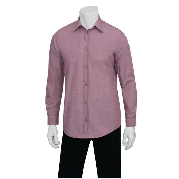 Click N Order photo of a Chef Works Chambray Mens Long Sleeve Shirt Dusty Rose 2XL