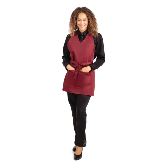Click N Order photo of a Whites V Neck Service Apron Burgundy