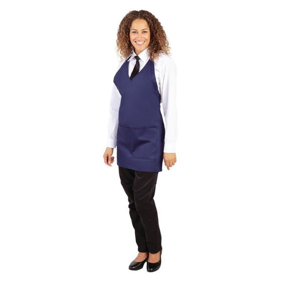 Click N Order photo of a Whites V Neck Service Apron Navy Blue