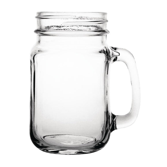 Click N Order photo of a Olympia Handled Jam Jar Glasses 450ml (Pack of 12)