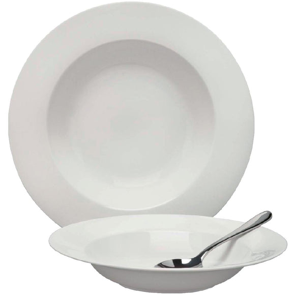 Click N Order photo of a Elia Glacier Fine China Rimmed Pasta Bowls 275mm (Pack of 4)