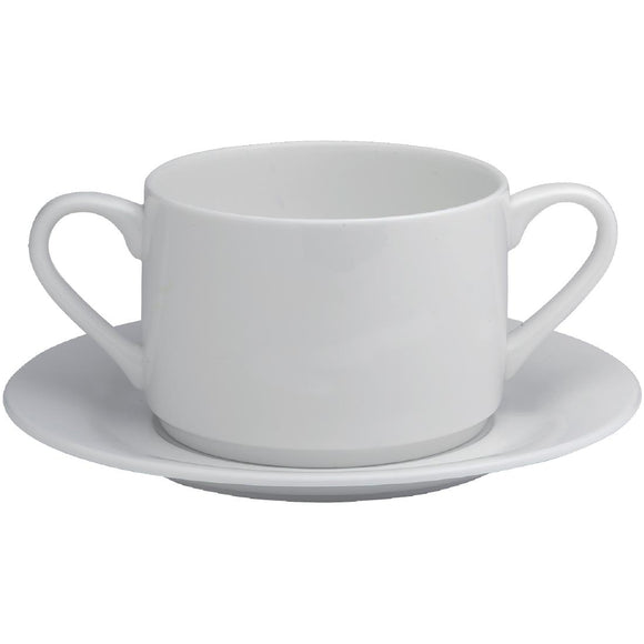 Click N Order photo of a Elia Glacier Fine China Handled Soup Cups 220ml (Pack of 6)