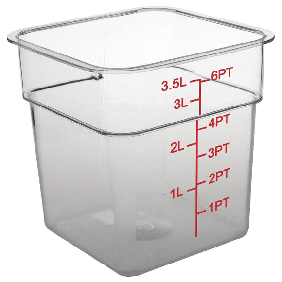 Click N Order photo of a Vogue Polycarbonate Square Storage Container 3.5Ltr
