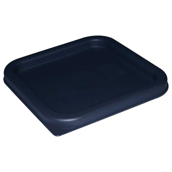 Click N Order photo of a Vogue Polycarbonate Square Food Storage Container Lid Blue Large