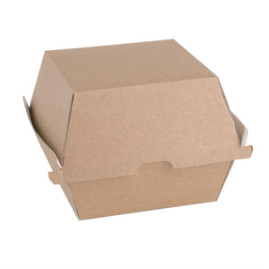 Click N Order photo of a Fiesta Green Compostable Kraft Burger Boxes Large 112mm (Pack of 150)