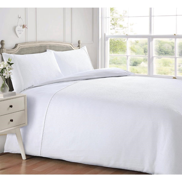 Click N Order photo of a Intimates Luxury Living Waffle Duvet Set White Single