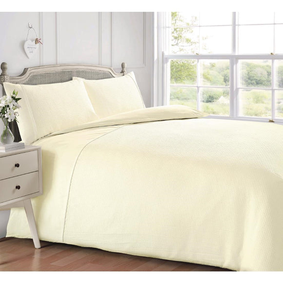 Click N Order photo of a Intimates Luxury Living Waffle Duvet Set Cream Double