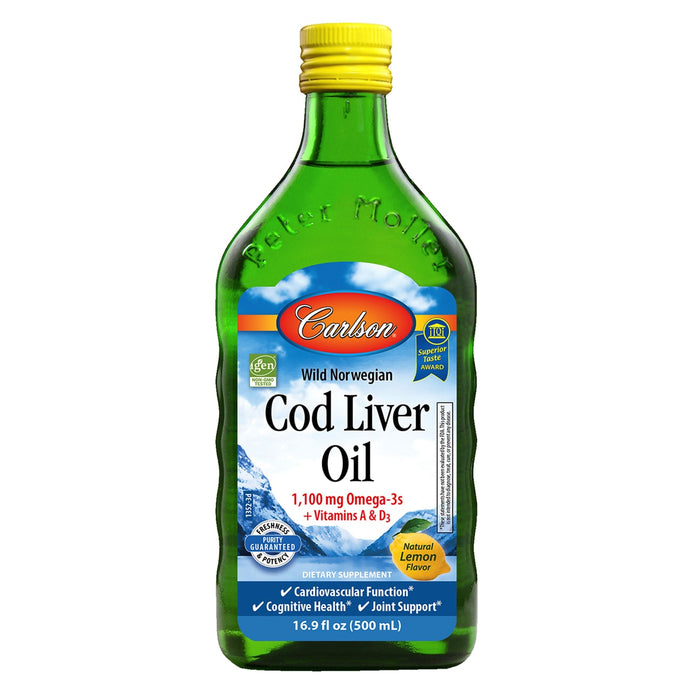 Cod Liver Oil [Lemon] by Carlson (100 servings) - Laird Wellness