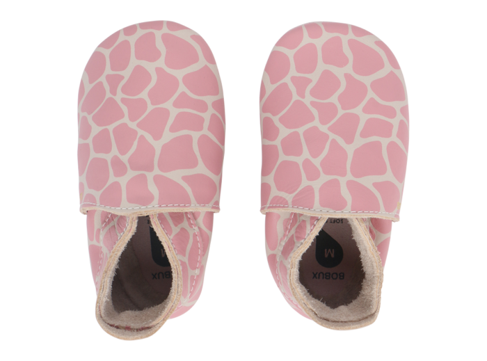 Bobux Shoes: Soft Sole Giraffe Print Milk