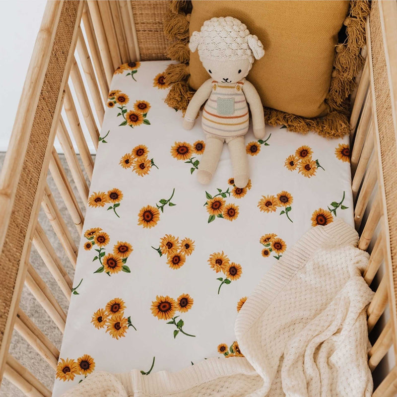 Snuggle Hunny Fitted Cot Sheet - Sunflower