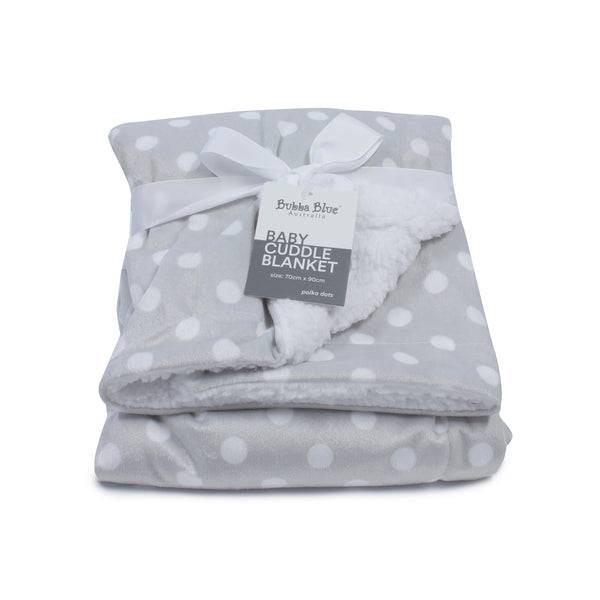 Grey Polka Dots Reversible Cuddle Blanket