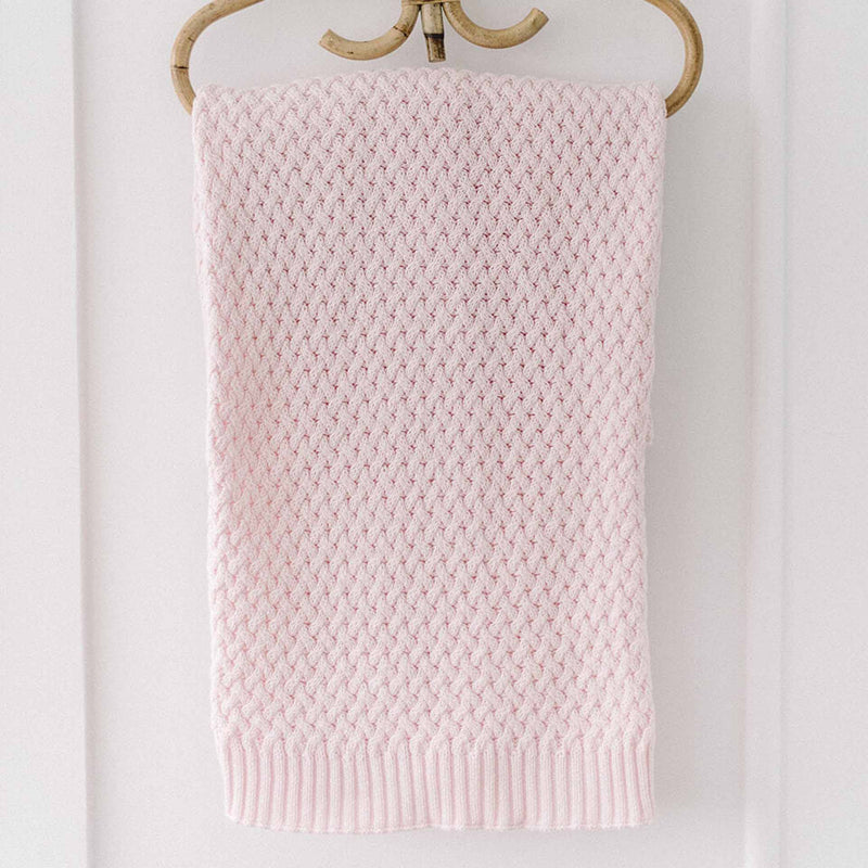 Snuggle Hunny Diamond Knit Baby Blanket - Blush Pink